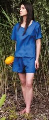 Cocoon 100% Silk Womens Adventure Nightwear (Shirt and Shorts) Farbe / color: 1001-blue (zoom)