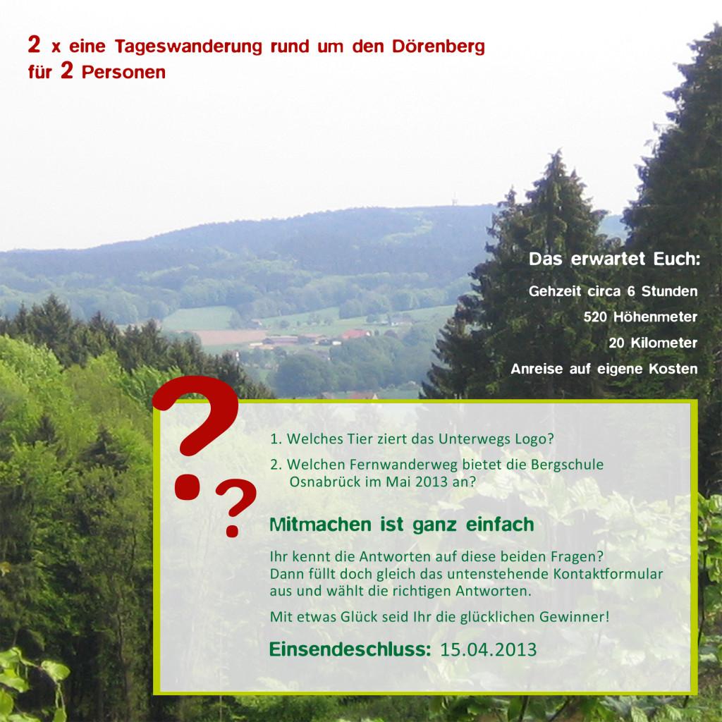 Gewinnspiel Unterwegs und Bergschule Osnabrueck - zwei Tageswanderungen