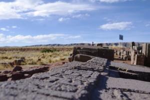 Überreste des Tempel 'Puma' in Tiwuanaku