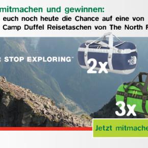 Seid dabei und sichert euch noch heute die Chance auf eine von acht Base Camp Duffel Reisetaschen von The North Face