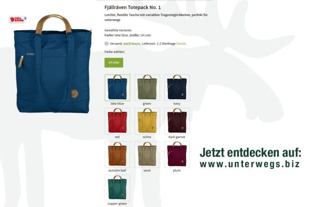 Totepack No1 beim Unterwegs Outdoor Shop