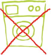 Symbol: Durchgestrichene Waschmaschine