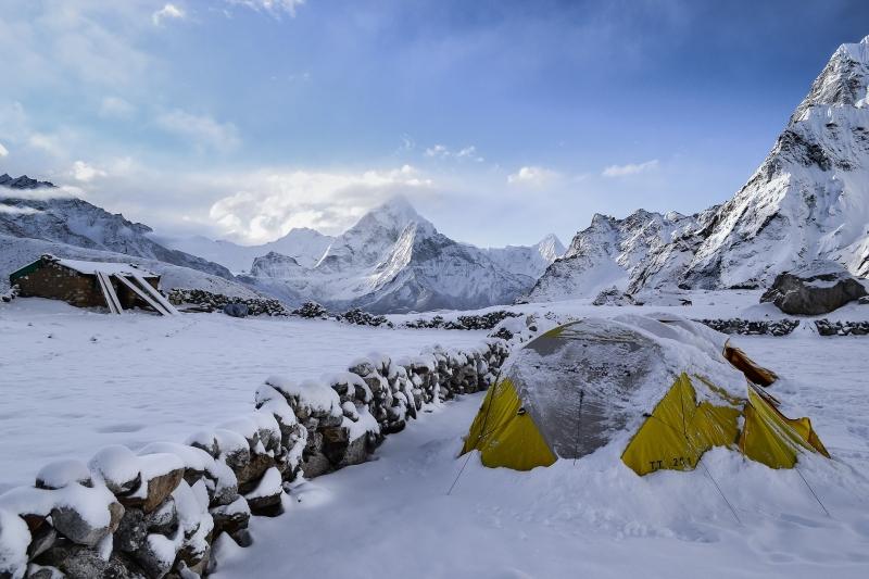 Zelten im Winter Zeltplatz