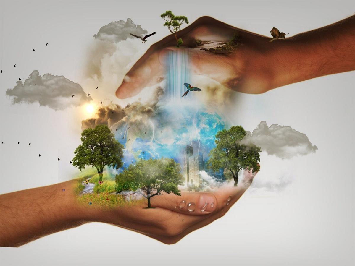 Naturschutz Erde in Hand