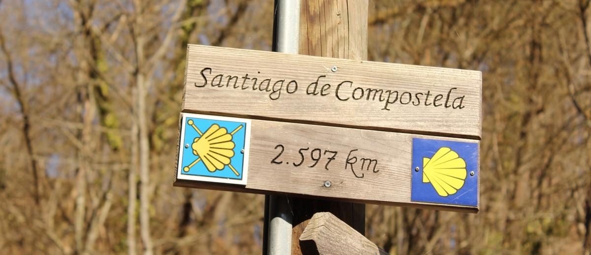 Hinweisschild Santiago de Compostela