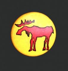 Unterwegs Unterwegs Button gelb-rot - Größe 25mm
