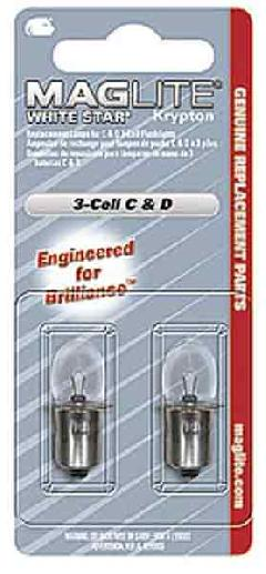 Maglite Mag-Lite Ersatzbirnen C+D Cell Krypton, 2er Set Größe 6 C/D Cell